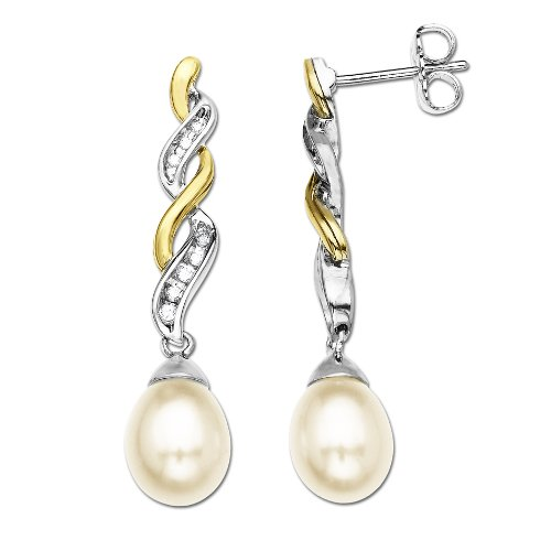 Sterling Silver and 14k Yellow Gold Freshwater Cultured Pearl and Diamond Drop Earrings (0.06 cttw, I-J Color, I3 Clarity)