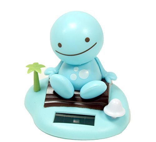 Adorable ~ Smiling Happy Face ~ Blue Sunny Doll on a Beach Island ~ Solar Toy Perfect Home Car Decor - 1