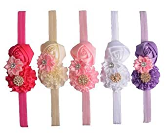 QS® Baby Girl Elastic Headbands with Rose, Flower and Crystal (Pack of 5)