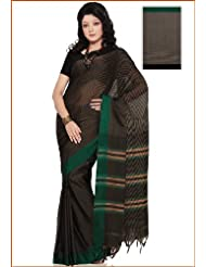 Utsav Fashion Women's Black and Brown Narayanpet Handloom Cotton Saree With Blouse