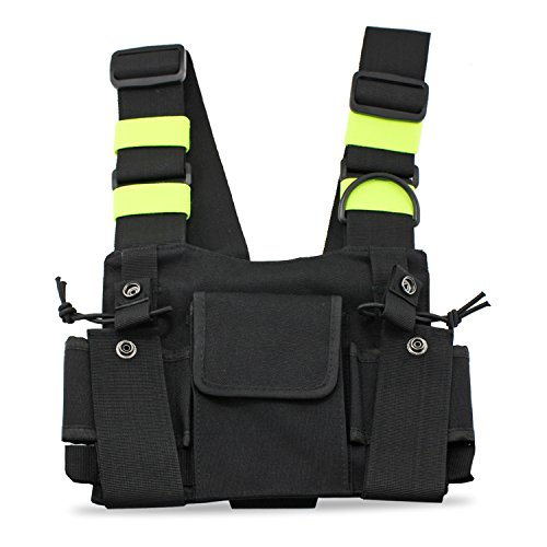 abcGoodefg Radio Chest Harness Chest Front Pack Pouch Holster Vest Rig for Two Way Radio Walkie Talkie(Rescue Essentials) (Green) (Walkie Talkie Harness compare prices)