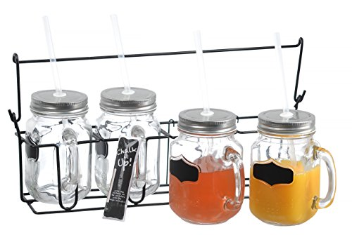 Zeesline Set Of Four (4) 16-Oz Clear Glass Chalkboard Mason Jars Mugs With Handles, Metal Lids And Drinking Straws, Including Caddy Holder With A Handle And Chalk, Home And Party Drinkware Set