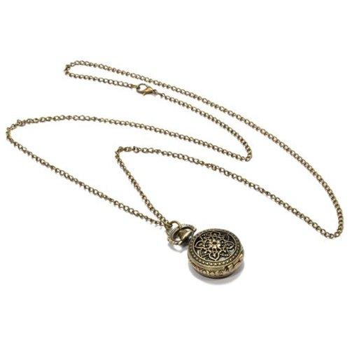 Orologio da Tasca Bronzeo al Quarzo Fiore Filigrana Numeri Arabi con Collana