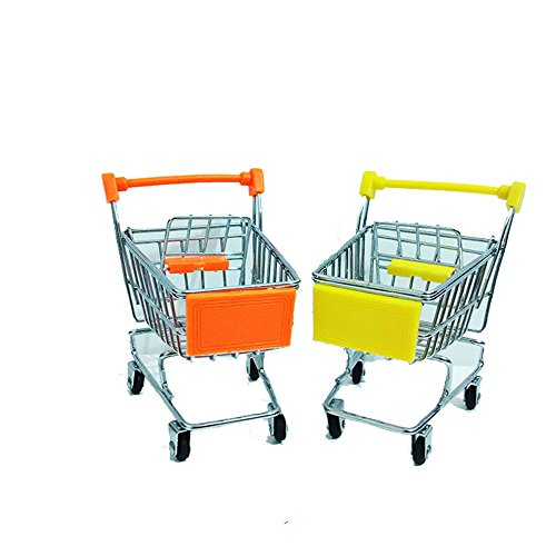 2pcs-deluxe-metal-shopping-trolley-supermarket-trolley-cart-basket-phone-storage-toy-pen-holder