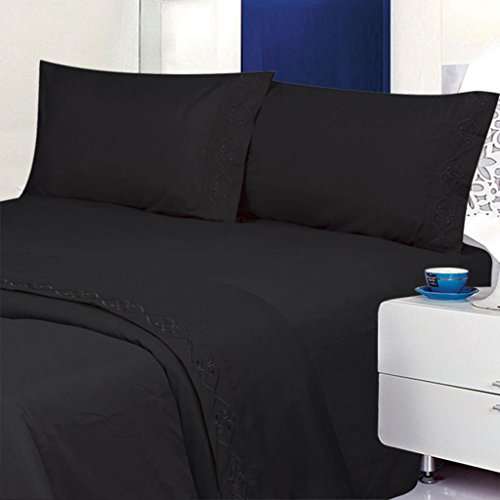 ITALIAN Deluxe 1800 Thread Count Bed Sheet Set - Embroidered Sheet Set - Full Size, Black (Black Bed Sheets compare prices)