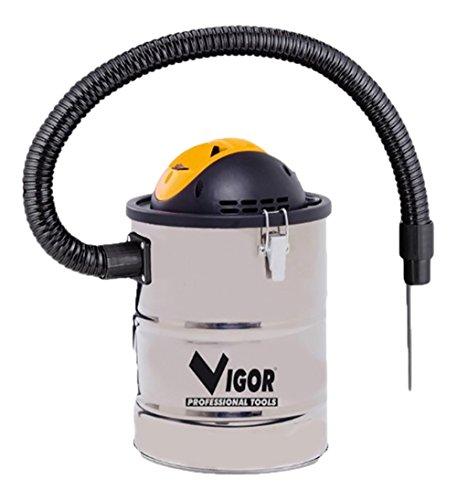 Vigor Aspir-El Bidone Aspiracenere in Inox, 15 l, 800 W