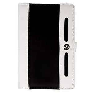 "Dauphine Faux Leather Portfolio Case Cover for Hannspree T7 Series 10.1"" Tablet (White Black)"