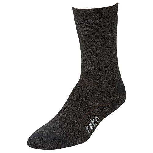 Teko Sin3Rgi Organic Merino Wool Midweight Casual, Walking And Hiking Socks, Charcoal/Black, X-Large front-1011886