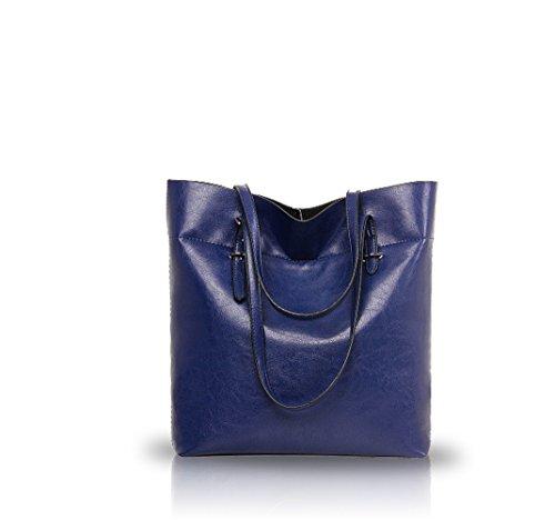 Nicole&Doris 2016 nouvelles tempérament sauvage de grande capacité cuir d'huile sacs à main à la mode des femmes bourse(Sapphire)