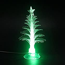 LED Mini USB Powered 7 Colors Fiber Optic Seasonal Decorative Christmas Tree with Top Star Light for Merry Christmas Holiday Time Decor for Notebook Desktop, Plus Extra Flannel Bag -(Color Changing)