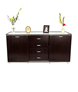 Fusionsmart Furnitures Fusionsmart Furnitures Philip Sideboard/Buffet with Sliding Door and Glass Top
