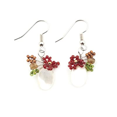 Floral Bead and Mother of Pearl Earrings