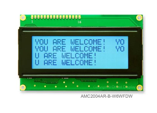 20 X 4 Character Lcd Module Black And White With White Backlight Amc2004Ar-B-W6Wfdw