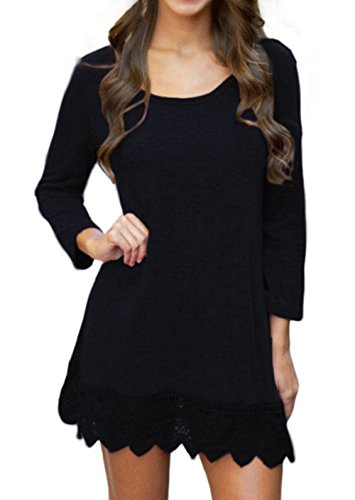 POZON Women's Long Sleeve A-line Lace Stitching Trim Casual Dress (S, Black)