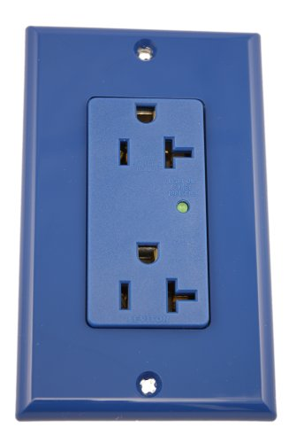 20 Amp, 125 Volt, Decora Plus Duplex Surge Suppressor Receptacle, Straight Blade, Industrial Grade, Self Grounding, with Indicator Light & Audible Alarm, Brown/Ivory/Gray/White/Blue, 5380