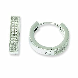 Sterling Silver and CZ Brilliant Embers Hinged Hoop Earrings