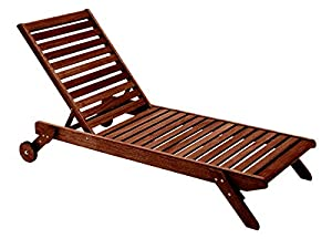 Butzke mestra eucalyptus wood chaise brown for Chaise eucalyptus