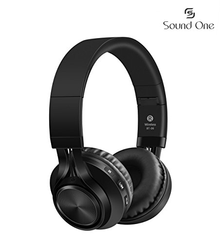 Sound One BT-06 Bluetooth Headphones Build in Microphone Wireless Headphones with TF Card FM Radio and Extra Audio Cable for Most Cellphones Laptop TV Bluetooth 4.0 Devices (Black)