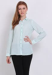Paprika Green Coloured Moss Crepe Shirt Large