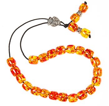 Worry Beads - Classic - Orange and Red Sparkles
