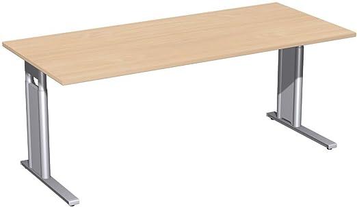 Scrivania regolabile in altezza, C-Mascherina opzionale, 1800x 800x 680-820, faggio/argento, Gera mobili