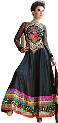 Exotic India Jet-Black Wedding Long Anarkali Suit with Floral Embroidery - BlackGarment Size Small