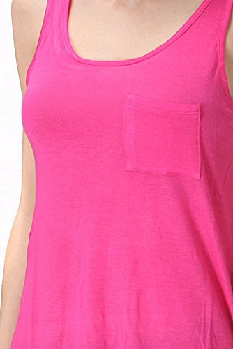 Sassy Apparel Women's Active Basic A-line Hi-low Fashion Tank Top (Small, Fuchsia)