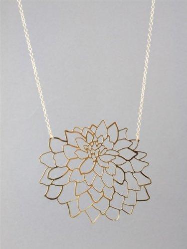 Kris Nations Large Dahlia Necklace - Gold