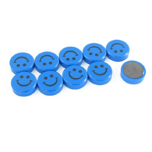 Smile Pattern Round Button Magnetic Sticker 10 Pcs Black Blue