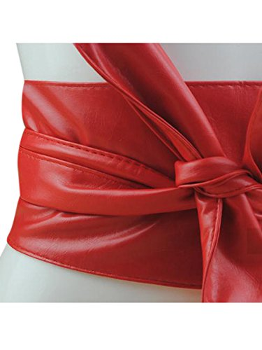 Women PU Leather Soft Self Tie Bowknot Band Wrap Around Sash Obi Belt Red