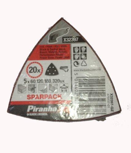 20 Stück Schleifdreiecke, Deltaschleifer, 5x60,120,180,320 G/K, Piranha, X32397