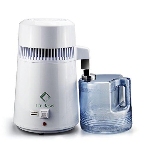 LifeBasis Distillateur d'eau avec Récipient collecteur de Polypropylène de 4L pour de l'eau pure Domicile, Dentaire, Hôpital et Laboratoire