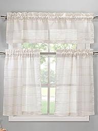 Duck River Textiles MAKCL=12 2294 Maui Narrow Stripe Faux Linen Kitchen Curtain, Coffee