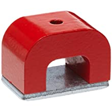 Red Cast Alnico 5 Bridge Magnet With Keeper, 1.57&#034; Wide, 1&#034; High, 1&#034; Thick, 0.20&#034; Hole On Top (Pack of 1)