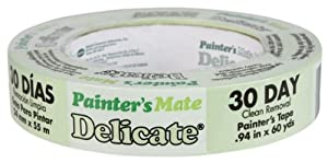 Painter's Mate 666015 Green 30-Day Painting Tape for Delicate Surfaces, 0.94-Inch by 60-Yards, Single Roll