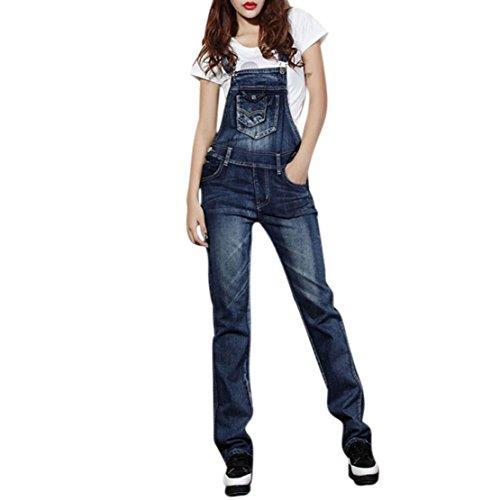 Shensee Street Denim Bib Women Lady Jeans Spaghetti Strap Slim Pants Jumpsuit (XXL)