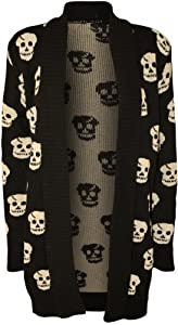 Forever Women's Skull Print Knitted Open Cardigan (XL-14/16, Black)