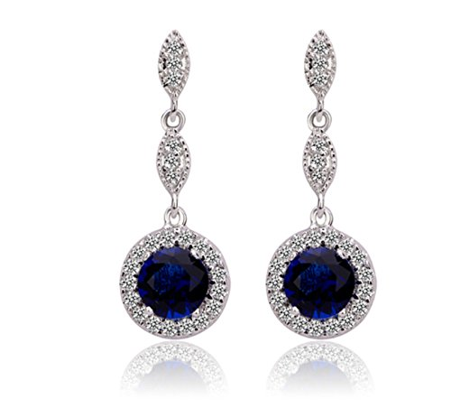 Bamoer Round Pendant Earrings For Girls Women Ladies White Gold Plated Cz Cubic Zirconia Jewelry