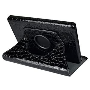 Ctech 360 Degrees Rotating Stand (Black Crocodile) Leather Cover Case for Amazon Kindle Fire