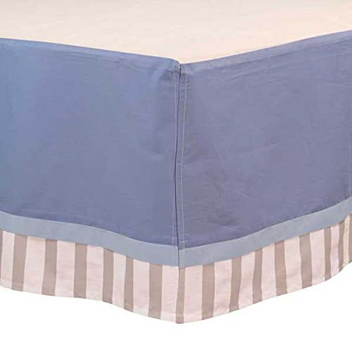 BreathableBaby Cotton Crib Skirt, Blue/Grey