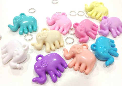 Pack of 10 Pastel Cute Elephant Charms for Rubber Band Loom Bracelets - 1