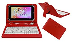 ACM PREMIUM USB KEYBOARD TABLET CASE HOLDER COVER FOR IBERRY AUXUS CORE X2 With Free MICRO USB OTG - RED