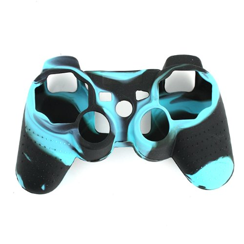 High Quality Premium Super Grip Glow Black Blue Silicon Protective Skin Case Cover for Sony Playstation PS3 Remote Controller