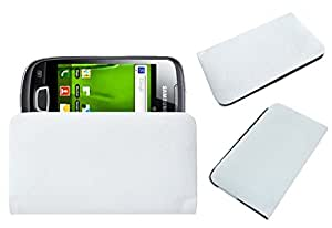 Acm Rich Leather Soft Case For Samsung Galaxy Pop I559 Mobile Handpouch Cover Carry White