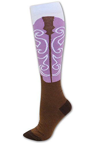 Cowgirl Boot Socks Brown/Orchid S/M front-947872