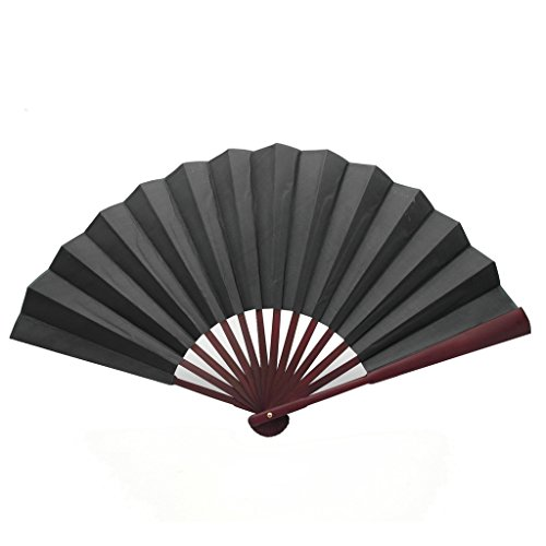 TrendBox Chinese Traditional Nylon-Cloth Handheld Folding Fan For Pratice Performance Dancing Ball Parties Unisex - Black
