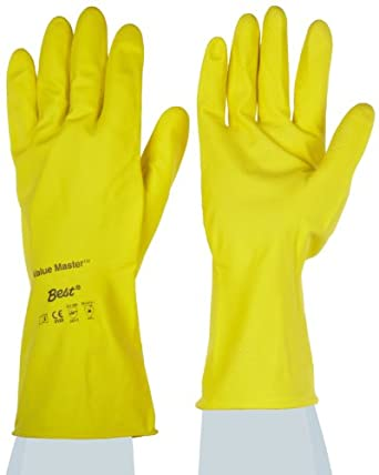 """Showa Best VM Value Master Natural Rubber Glove, Flock-Lined, Rolled Cuff, Chemical Resistant, 18 mils Thick, 12"""" Length"""
