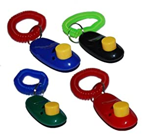 Big Button Pet Dog Cat Training Clickers, click with wrist bands - 4 Pack, by Downtown Pet Supply