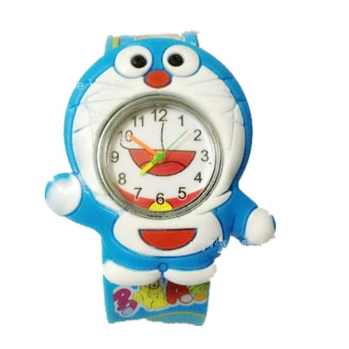 New Doraemon Boys' Girs' Children Cartoon Black Rubber Quartz Watch
