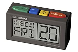 "MedCenter ""Your Minder"" Talking Alarm Clock with Six Personalized Reminder Messages (Black) (1.25""H x 1.75""W x 2.75""D)"